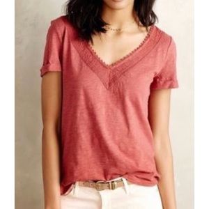 Anthropologie Meadow Rue Patchwork Lace Tee